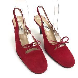 Isaac Mizrahi Vintage Red Suede Slingback Heels